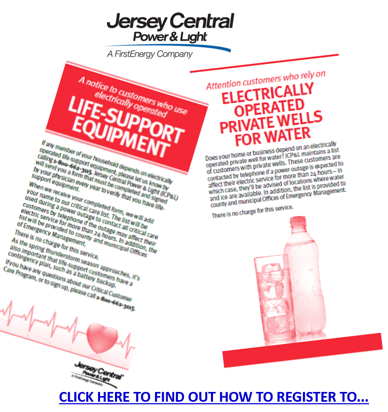 JCP&L Citical Care Customer Signup and Privately Owned Well Water Owners Signup for Assistance