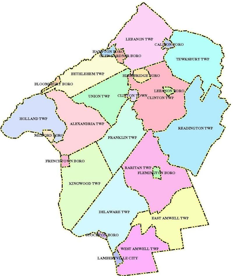 Hunterdon County - Municipal Boundaries Map