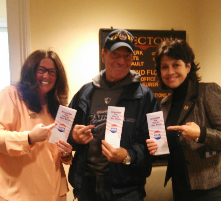 County Clerk Mary Melfi with Joe Piscopo and Donna Simon after voting in 2014